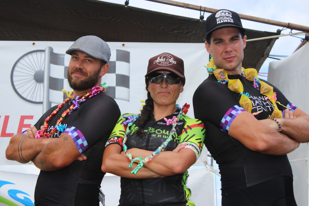 First place winners by category of P2M+ the Kaua`i Omnium: Scotty Smith (cat 4/5), Nikki Moreno (women), and Bill Lezzer (cat 1/2/3 and overall).